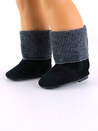 18 Inch Doll Suede Blackgray Sweater Boots
