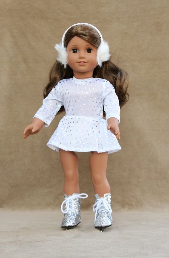 18 Inch Doll White Sequin Skating Outfit
