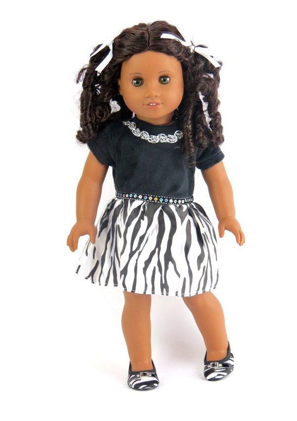 18 Inch Doll Velvet Zebra Dress
