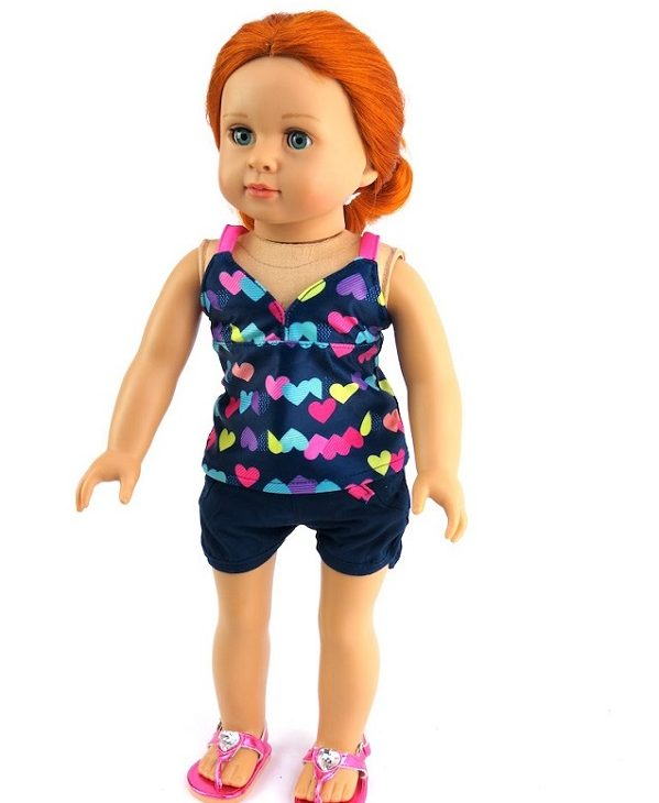 18 Inch Doll 3 Piece Heart Swimsuit Outfit 1