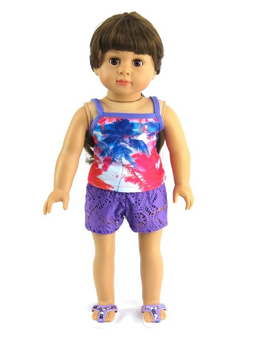 18 Inch Doll 3 Piece Palm Tree Swimsuit Outfit