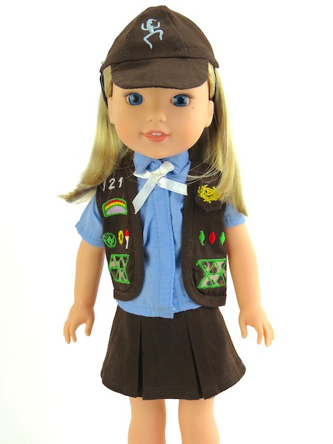 14.5 Wellie Wisher Doll Brownie Scout Outfit