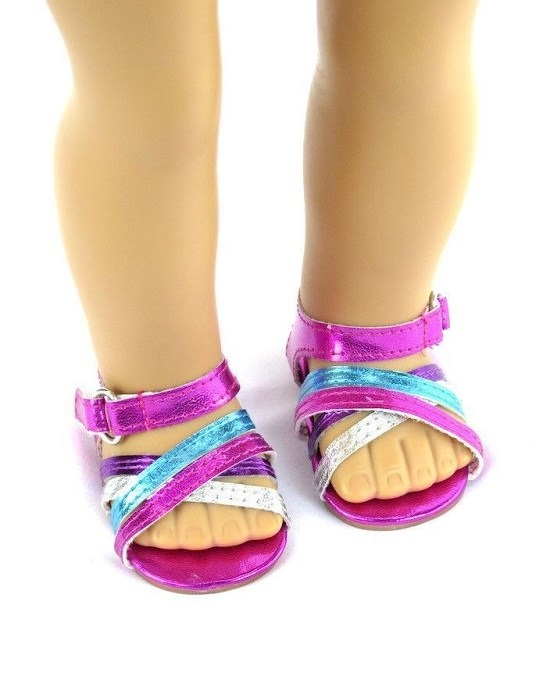 18 Doll Metallic 3 Colored Sandals