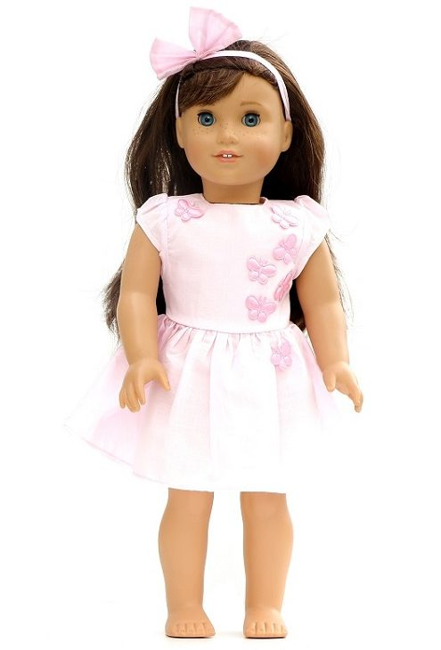 18 Doll Pink Butterfly Dress Hairbow