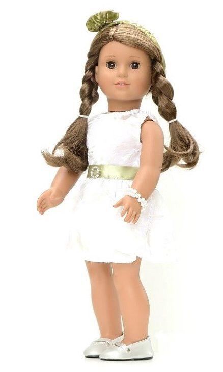 18 Doll White Brocade Dress Headband Pearls