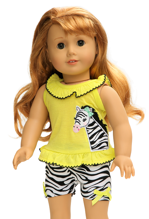 18 Doll Zebra Shorts Outfit