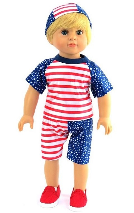 18 Boy Doll Patriotic Swimmer 3 Piece