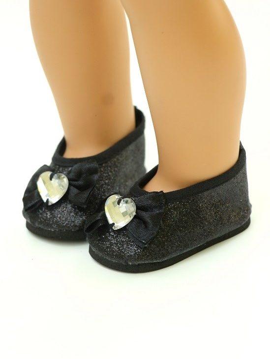 18 Doll Black Glitter Slip On Bow Heart Shoe