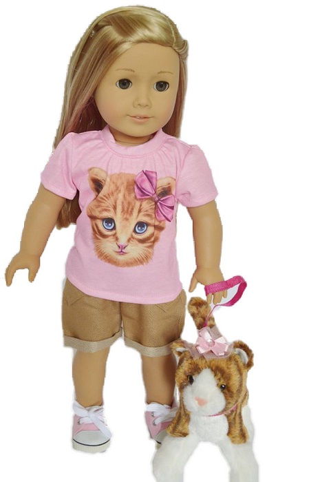 18 Doll Kitten Shirt Shorts Outfit