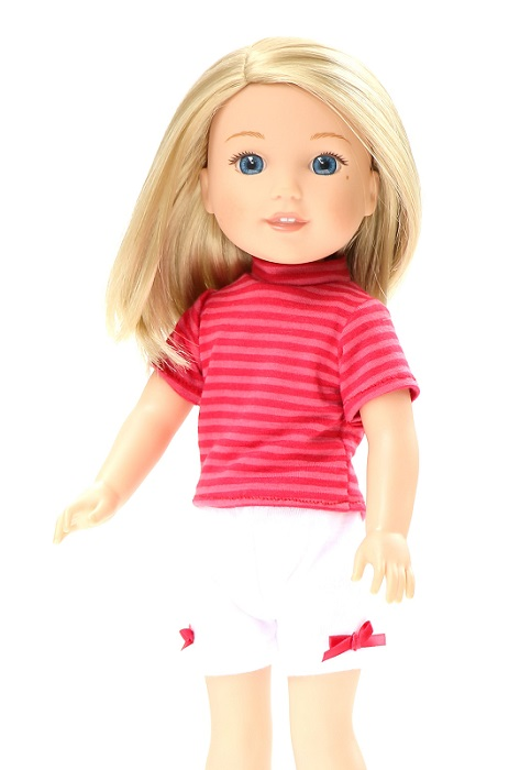 14.5 Wellie Wisher Doll Shorts Striped T Shirt