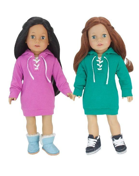 18 Inch Doll Hooded Sweatshirt Dress