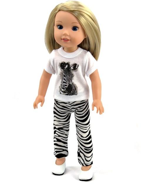 14.5 Wellie Wisher Doll Zebra T Shirt Leggings