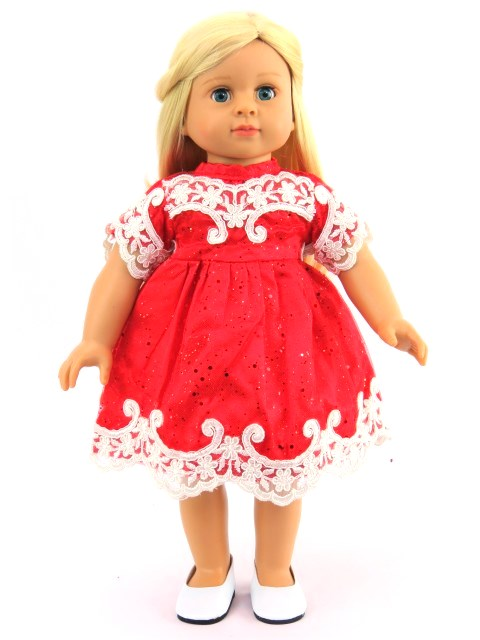 18 Doll Red Glitter Dress With Embroidery Trim