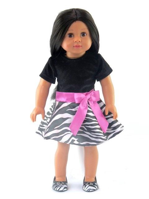 18 Doll Zebra Print Dress With Pink Bow