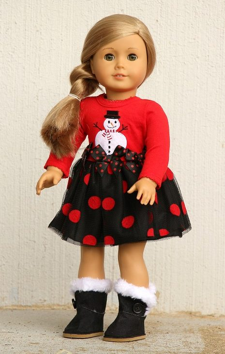18 Doll Polka Dot Snowman Tutu Dress 1