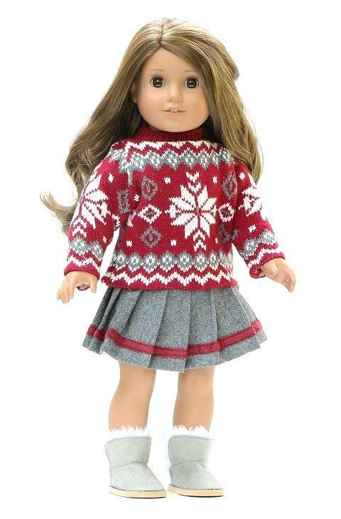 18 Doll Red Poinsettia Sweater Skirt