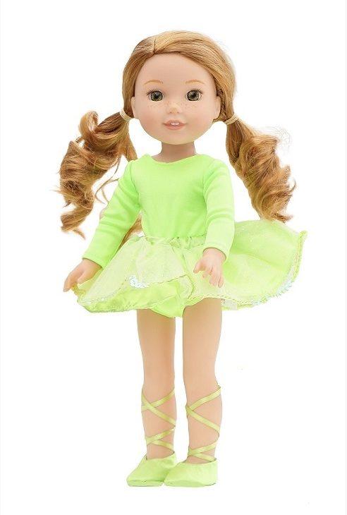 14.5″ Wellie Wisher Doll Lime Ballerina Leotard Skirt Shoes