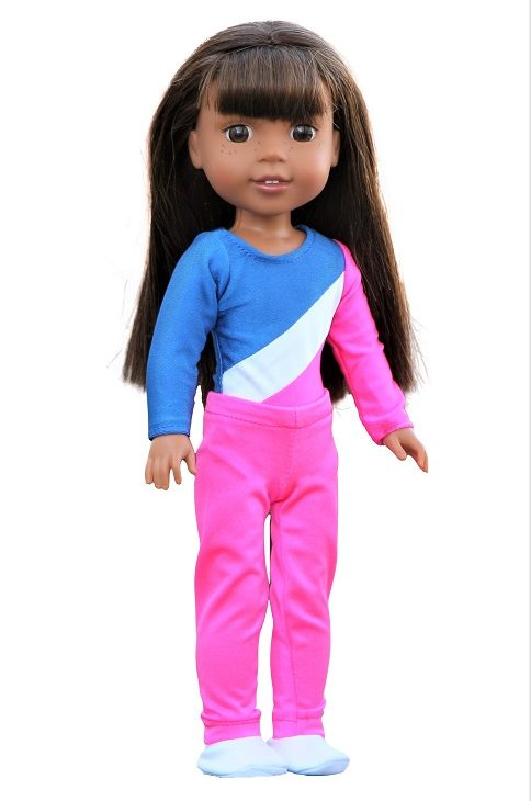 14.5 Wellie Wisher Doll 3 Piece Gymnastics Outfit 1