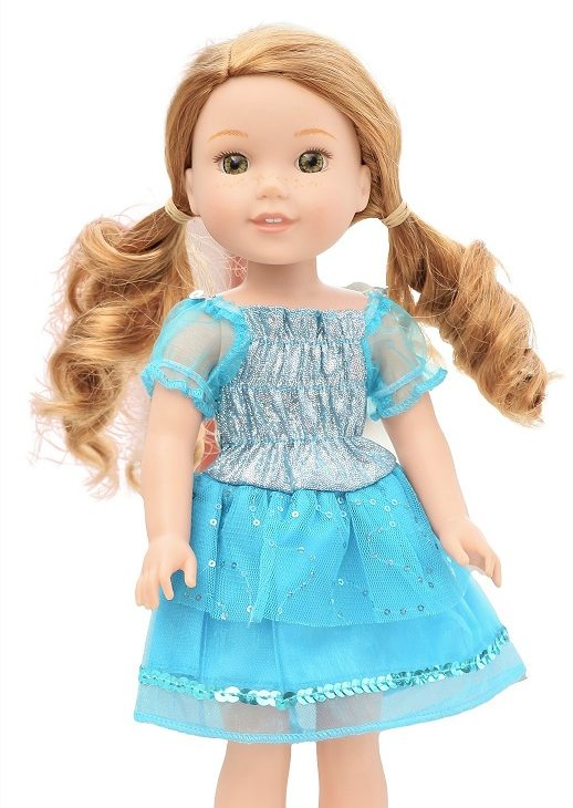 14.5 Wellie Wisher Doll Sparkly Blue Dress 1