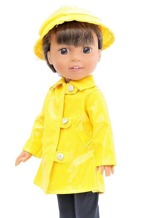 14.5 Wellie Wisher Doll Yellow Raincoat Hat 1
