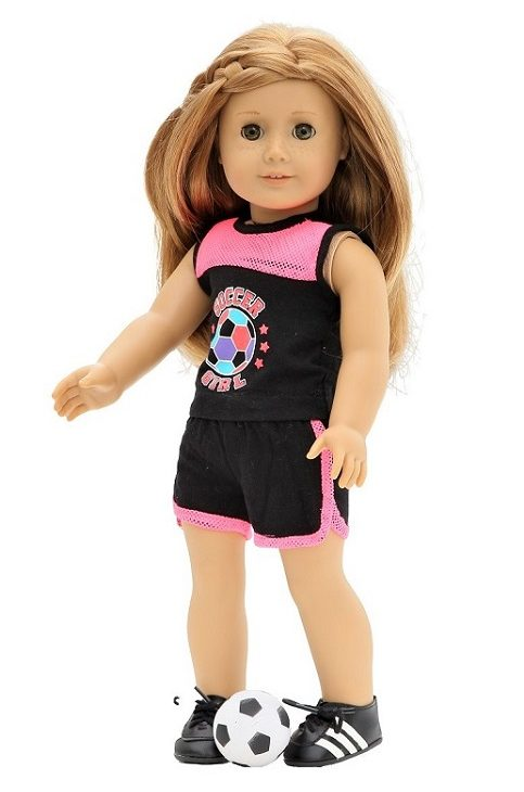 18 Doll Black Hot Pink Soccer Girl Outfit