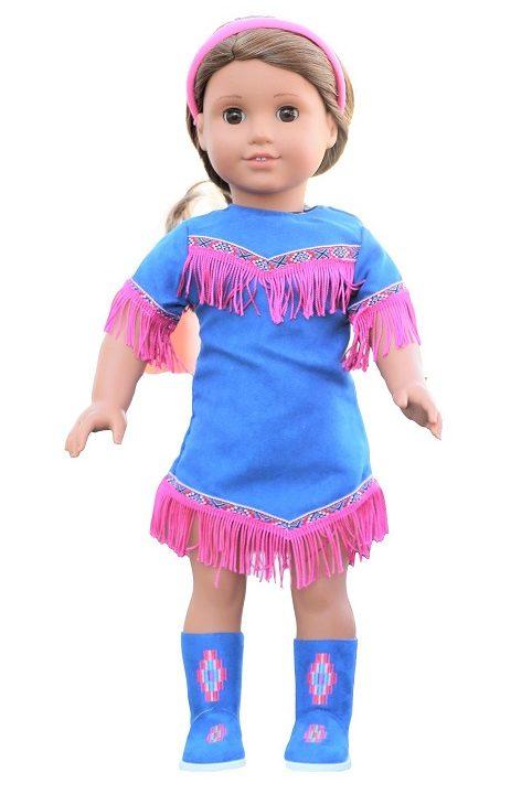 18 Doll Blue Fringe Dress Moccasin Boots