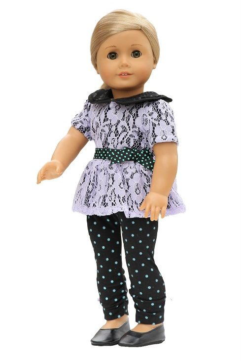 18″ Doll Black Lavender Lace Top Dotted Leggings