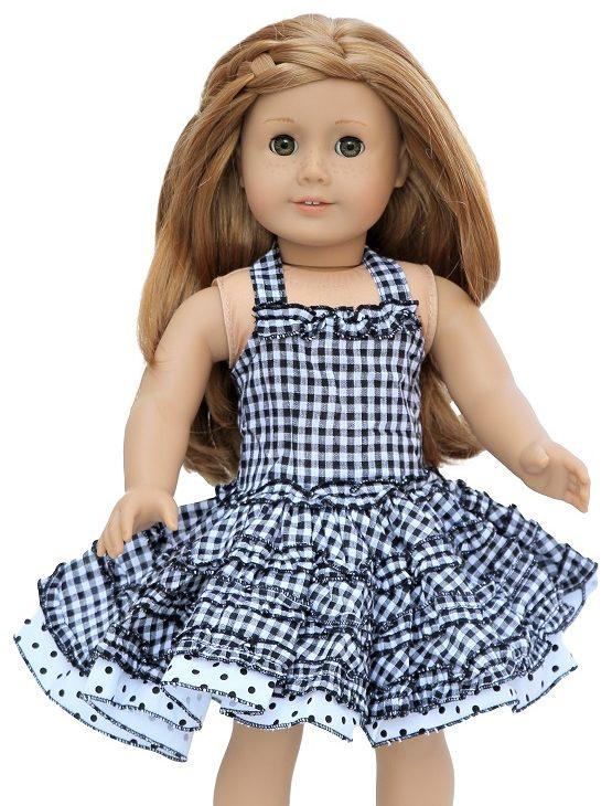 18 Doll Checked Halter Top Dress Panties