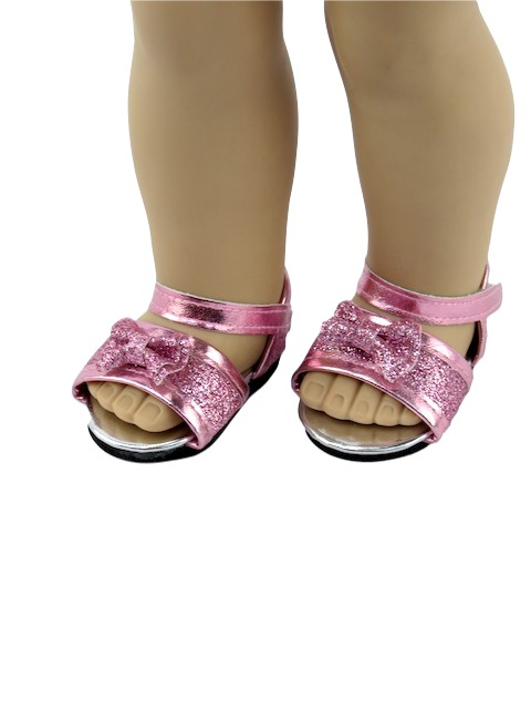 18 Doll Pink Glitter Bow Sandals