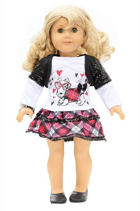 18 Doll Red Black Glamour Puppy Outfit