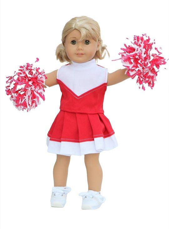 18 Doll Red White Cheerleader Outfit