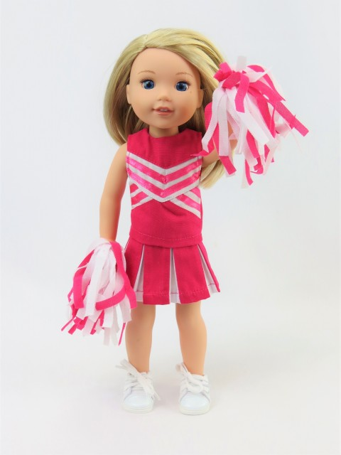 14.5 Wellie Wisher Doll Pink Cheerleader Outfit