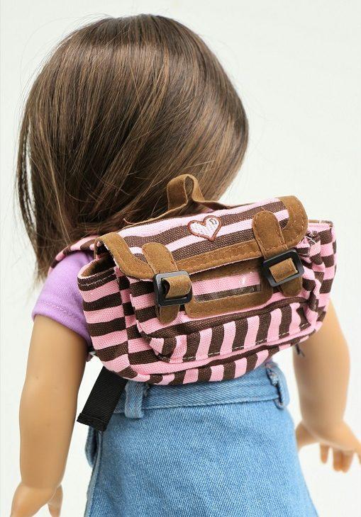 18 Doll Brownpink Striped Backpack