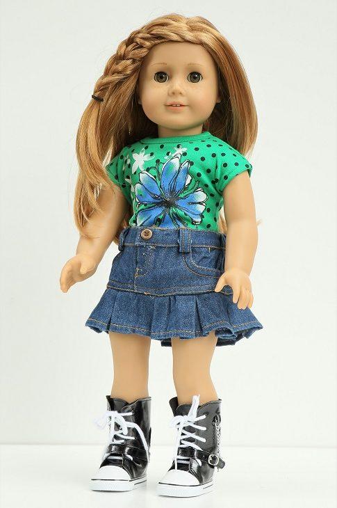 18 Doll Floral T Shirt Denim Skirt