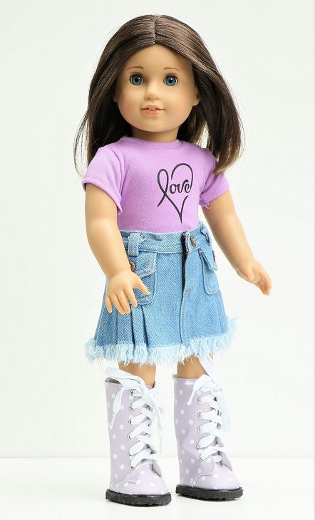 18 Doll Love T Shirt Denim Skirt