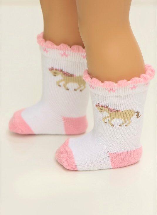 18 Doll Pink Horse Socks 1