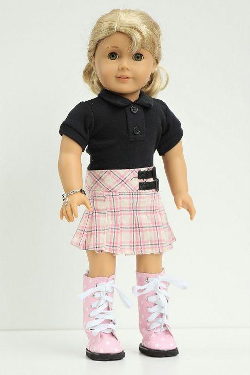 18 Doll Plaid Skirt Black Polo Shirt