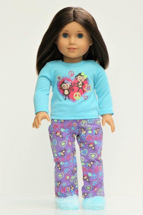 18 Doll Monkeys Hearts Pajamas