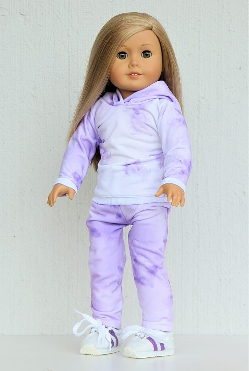 18 Doll Purple Tie Dye Jogger Outfit