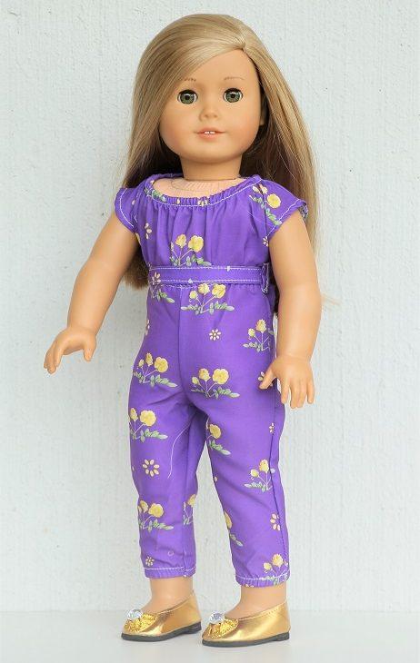 18 Inch Doll Purple Floral Jumpsuit