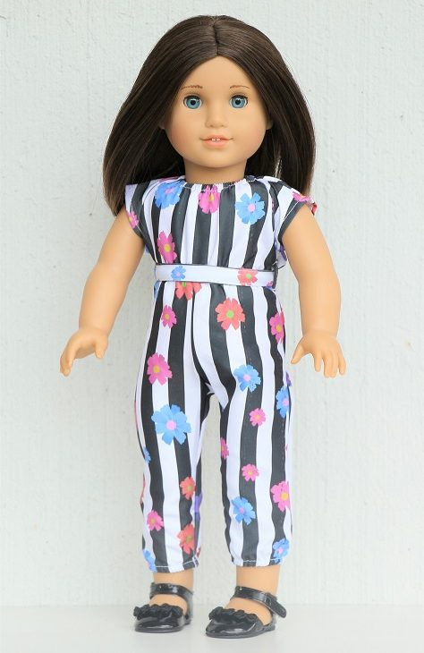 18 Inch Doll Striped Floral Jumpsuit