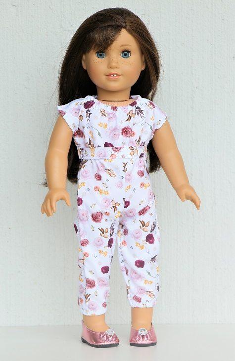 18 Inch Doll White Floral Jumpsuit