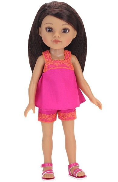 14.5 Wellie Wisher Doll Shorts Tank Pink Sandals 1