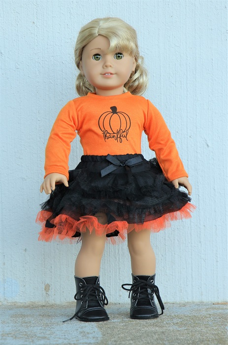 18 Doll Thankful Pumpkin Tee Skirt
